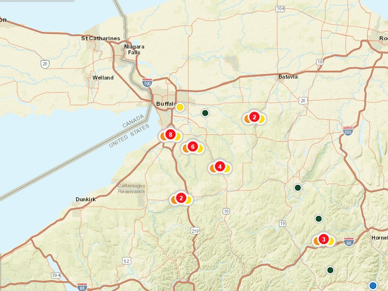 Nyseg Power Outage Map Power outages in WNY