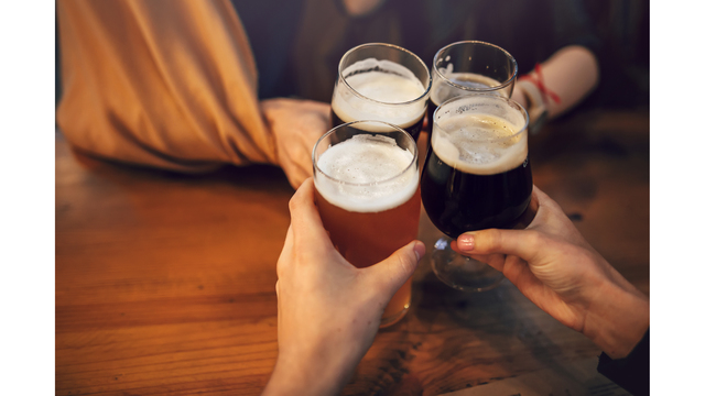 Hands Of People Holding Beer And Cheering In Brewery Pub. People_1547675413420