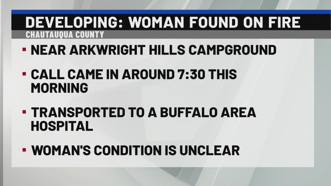 Woman found on fire