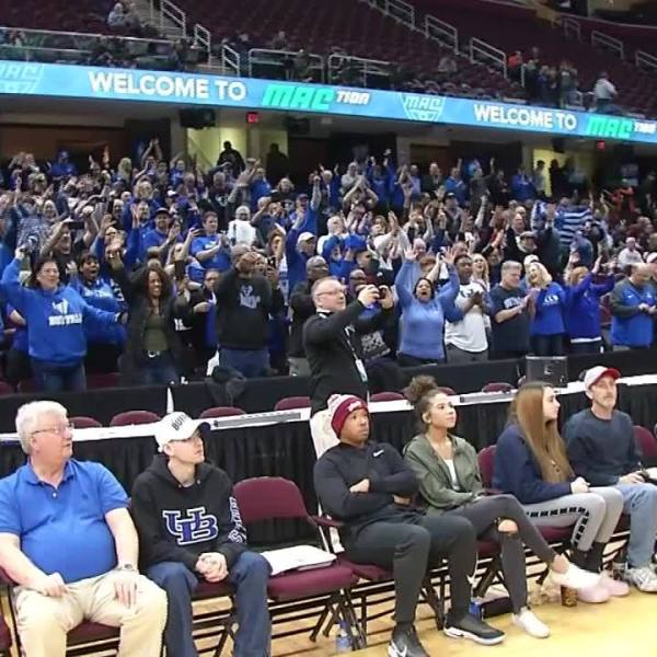 UB women postgame locker room after win over Central Michigan