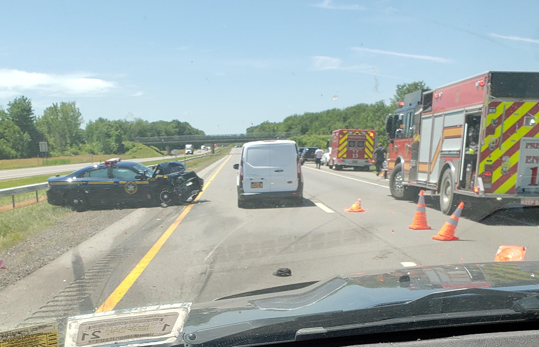 Two minivan passengers badly injured in crash on Thruway