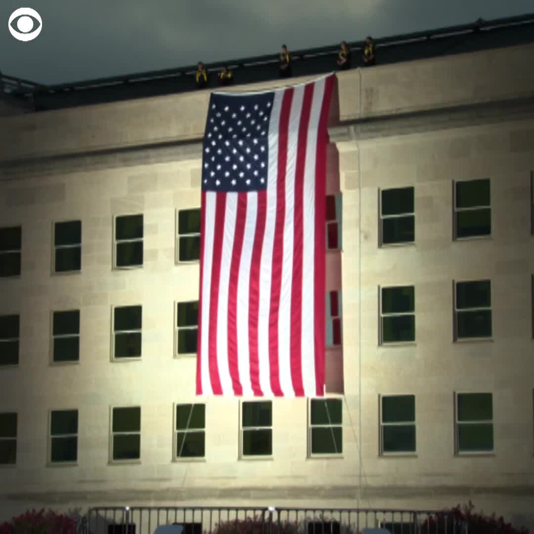 watch  american flag unfurled at pentagon on anniversary
