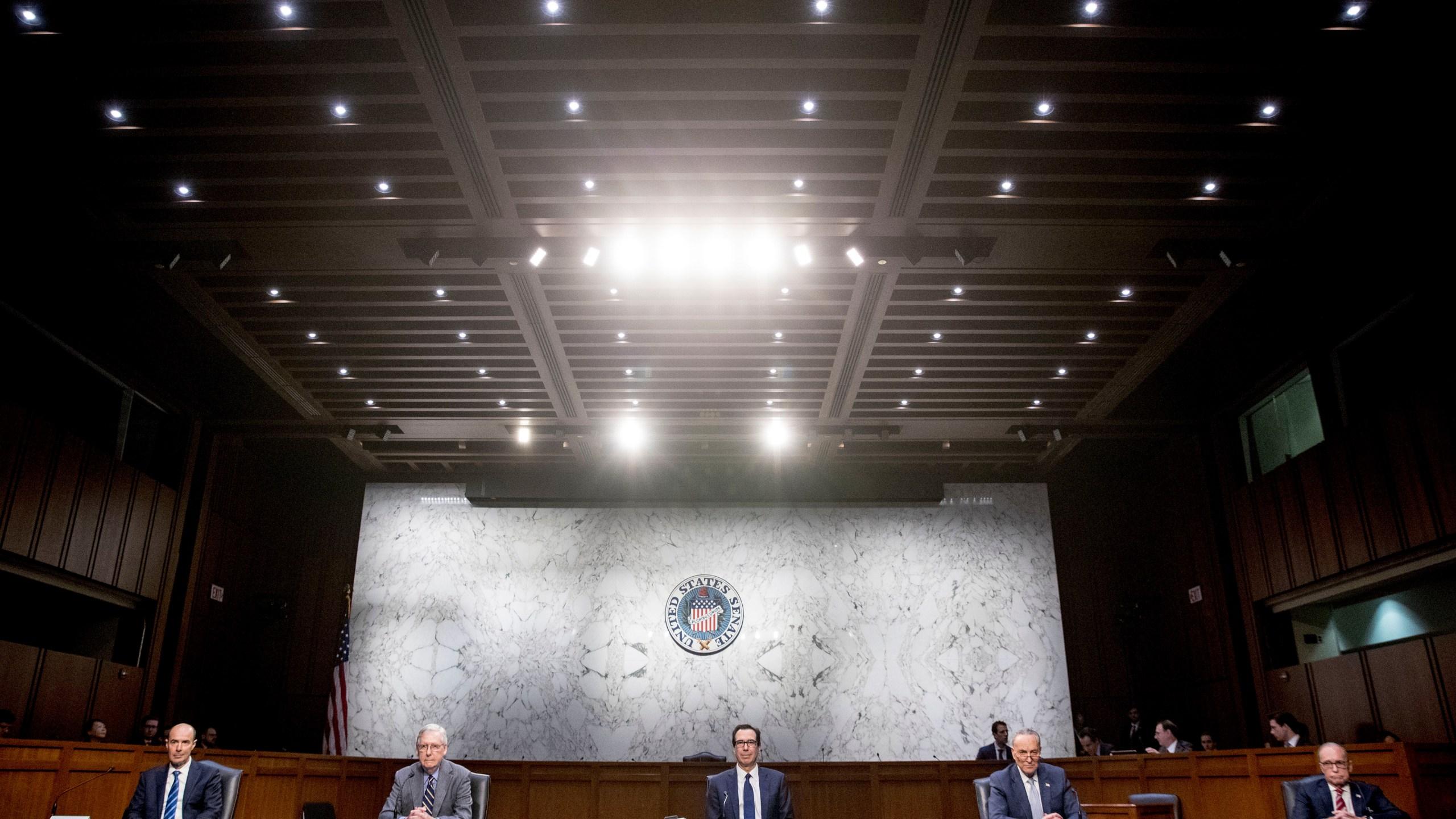Mitch McConnell, Chuck Schumer, Steven Mnuchin, Eugene Scalia, Larry Kudlow