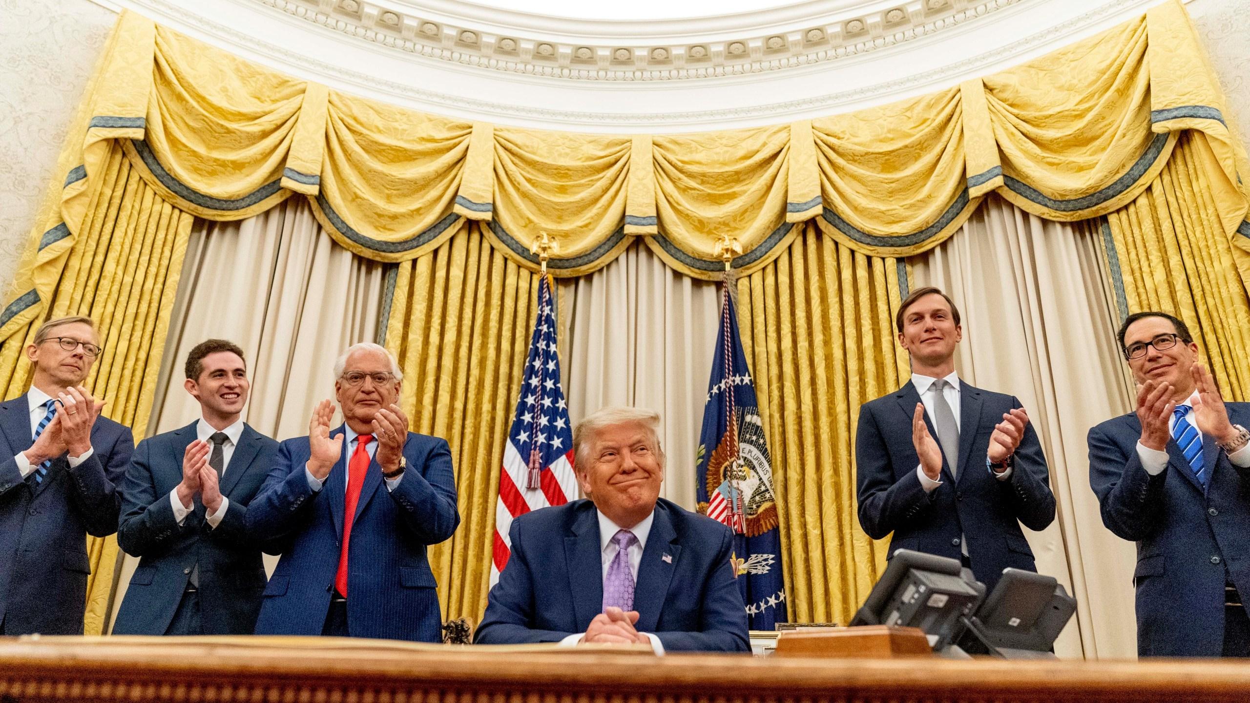Donald Trump, David Friedman, Avraham Berkowitz, Brian Hook, Jared Kushner, Steven Mnuchin