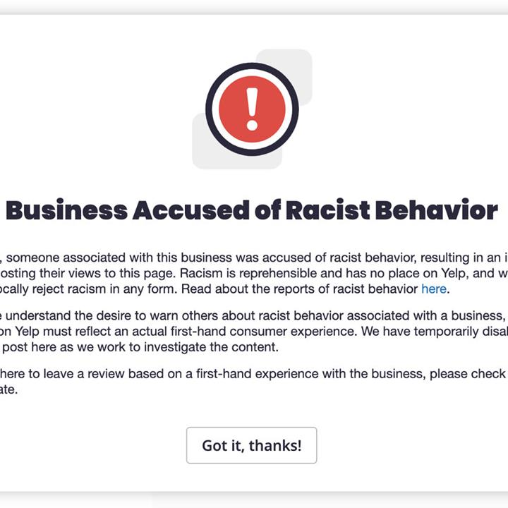 Yelp Halloween 2020 Yelp to add 'alert for businesses accused of racist behavior